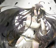 character:albedo copyright:overlord_(maruyama) general:1042304530 general:1girl general:black_hair general:black_wings general:breasts general:demon_girl general:dress general:feathered_wings general:female general:gloves general:hip_vent general:horns general:large_breasts general:long_hair general:looking_at_viewer general:low_wings general:smile general:solo general:white_dress general:white_gloves general:wings general:yellow_eyes technical:grabber // 1000x850 // 538.9KB