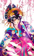 character:albedo copyright:overlord_(maruyama) general:1girl general:alternative_costume general:alternative_hairstyle general:animal_print general:bird general:bird_print general:black_hair general:blurry general:blush general:cherry_blossom general:closed_mouth general:crane_(animal) general:eyeshadow general:female general:fingernails general:hair_ornament general:hairpin general:horocca general:jewelry general:kimono general:lipstick general:long_sleeves general:looking_at_viewer general:makeup general:nail_polish general:purple_kimono general:red_lipstick general:red_nails general:ribbon general:sleeves_past_wrists general:slit_pupils general:smile general:solo general:upper_body general:wafuku general:yellow_eyes medium:blurry_background medium:blurry_foreground medium:depth_of_field medium:high_resolution technical:grabber // 747x1200 // 845.2KB