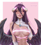 artist:kittew character:albedo copyright:overlord_(maruyama) general:1girl general:abs general:areolae general:breasts general:covered_nipples general:demon general:female general:female_only general:horns general:looking_at_viewer general:solo general:text general:url general:wings metadata:watermark technical:grabber // 548x600 // 273.6KB