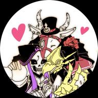 character:ainz_ooal_gown character:peroroncino character:ulbert_alain_odle copyright:overlord_(maruyama) general:3boys general:armor general:belt general:bird general:black_hair general:cape general:collar general:demon general:ear_piercing general:eyes_closed general:flower general:formal general:gauntlets general:gloves general:goat general:hat general:heart general:hood general:horns general:jewelry general:long_hair general:mask general:multiple_boys general:ring general:rose general:simple_background general:skeleton general:suit general:teeth general:v metadata:artist_request tagme technical:grabber // 768x768 // 327.7KB