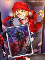 character:evileye copyright:overlord_(maruyama) general:blonde general:blush general:female general:hiroichi_ikemura general:long_hair general:masturbation general:mirror general:red_eyes general:sitting general:smile technical:grabber // 562x750 // 123.4KB