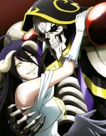 character:ainz_ooal_gown character:albedo character:lich copyright:overlord copyright:overlord_(maruyama) general:ahoge general:armor general:bare_shoulders general:black_hair general:dress general:elbow_gloves general:gloves general:horns general:jewelry general:long_hair general:looking_at_viewer general:red_eyes general:ring general:skeleton general:smile general:yellow_eyes medium:high_resolution medium:official_art medium:scan medium:very_high_resolution tagme technical:grabber // 3182x4087 // 1.0MB