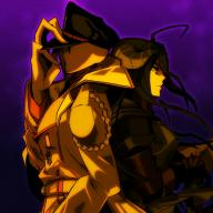 character:albedo character:pandora's_actor copyright:overlord_(maruyama) general:1boy general:1girl general:armor general:back-to-back general:black_hair general:hat general:nazi general:purple_background metadata:artist_request tagme technical:grabber // 800x800 // 462.2KB