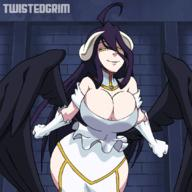 character:albedo technical:grabber unknown:1girl unknown:Solo unknown:animated unknown:animated_gif unknown:black_hair unknown:bouncing_breasts unknown:breasts unknown:cleavage unknown:dress unknown:female_focus unknown:gloves unknown:horns unknown:large_breasts unknown:long_hair unknown:overlord_(maruyama) unknown:smile unknown:twistedgrim unknown:white_dress unknown:white_gloves unknown:wings unknown:yellow_eyes // 1080x1080 // 8.4MB