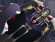 character:ainz_ooal_gown character:albedo copyright:overlord copyright:overlord_(maruyama) copyright:overlord_(novel) general:blood general:bone general:duo general:female general:holding_clothes general:holding_object general:horns general:humor general:long_hair general:male general:nosebleed general:saddrexart general:skeleton general:skirt general:skirt_lift technical:grabber // 1024x791 // 324.0KB