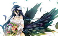 artist:bba_biao character:albedo copyright:overlord general:breasts general:cleavage general:collar general:demon general:elbow_gloves general:feathers general:flowers general:gloves general:horns general:skull general:wings general:yellow_eyes tagme technical:grabber // 1742x1080 // 914.1KB