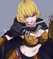 character:clementine_(overlord) copyright:overlord_(maruyama) general:1girl general:armor general:blonde general:breasts general:chokominto general:cleavage general:female general:hair_between_eyes general:large_breasts general:looking_at_viewer general:midriff general:navel general:red_eyes general:short_hair general:smile general:solo general:sword general:tongue general:tongue_out general:upper_body general:viewed_from_above general:weapon medium:high_resolution medium:very_high_resolution tagme technical:grabber // 2664x3000 // 366.6KB