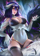 artist:nudtawut_thongmai character:albedo copyright:madhouse copyright:overlord_(maruyama) general:aura general:bare_shoulders general:black_bra general:black_panties general:black_thighhighs general:black_wings general:blush general:bra general:breasts general:covered_navel general:dakimakura_(object) general:demon_girl general:detached_collar general:elbow_gloves general:feather_(feathers) general:fringe general:girl general:gloves general:hair_between_eyes general:highres general:horn_(horns) general:light_erotic general:lingerie general:looking_at_viewer general:open_mouth general:panties general:pillow general:purple_hair general:realistic general:single general:sitting general:slit_pupils general:sweat general:tall_image general:teeth general:thighhighs general:underwear general:very_long_hair general:wet general:white_gloves general:wings general:yellow_eyes technical:grabber // 2480x3508 // 4.3MB