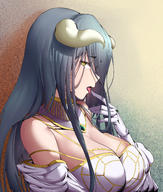 artist:cottoncandy_(pixiv27093366) character:albedo copyright:overlord_(maruyama) general:1girl general:breasts general:choker general:cleavage general:eyebrows_visible_through_hair general:finger_licking general:gloves general:grey_hair general:hair_between_eyes general:horns general:huge_breasts general:licking general:long_hair general:looking_at_viewer general:looking_to_the_side general:open_mouth general:solo general:tongue general:tongue_out general:upper_body general:white_gloves general:yellow_eyes metadata:absurdres metadata:highres metadata:huge_filesize technical:grabber // 4254x5000 // 13.1MB