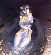 artist:zucchini character:albedo copyright:overlord_(maruyama) general:1girl general:bangs general:bare_shoulders general:black_feathers general:black_hair general:black_wings general:blush general:breasts general:cleavage general:demon_horns general:dress general:elbow_gloves general:feathered_wings general:gloves general:hair_between_eyes general:hip_vent general:horns general:large_breasts general:long_hair general:looking_at_viewer general:low_wings general:slit_pupils general:smile general:very_long_hair general:white_dress general:white_gloves general:wings general:yellow_eyes metadata:highres technical:grabber // 1396x1500 // 1.3MB