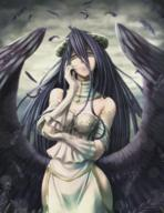 artist:programman character:albedo copyright:overlord_(maruyama) general:1girl general:ahoge general:bare_shoulders general:black_hair general:breasts general:cleavage general:cloud general:cloudy_sky general:dress general:feathered_wings general:feathers general:gloves general:hand_on_own_cheek general:horns general:light_smile general:lipstick general:long_hair general:looking_at_viewer general:makeup general:medium_breasts general:outdoors general:parted_lips general:sky general:solo general:thighs general:wings meta:highres technical:grabber // 926x1200 // 1.6MB