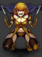 character:clementine_(overlord) copyright:overlord_(maruyama) general:1girl general:armor general:bandeau general:blonde_hair general:bob_cut general:breasts general:cleavage general:dagger general:full_body general:garter_belt general:gauntlets general:gloves general:large_breasts general:looking_at_viewer general:navel general:o-ring general:o-ring_legwear general:pauldrons general:red_eyes general:rokuba general:short_hair general:shoulder_armor general:smile general:solo general:spread_legs general:squatting general:thighhighs general:weapon metadata:highres technical:grabber // 1513x2048 // 925.4KB