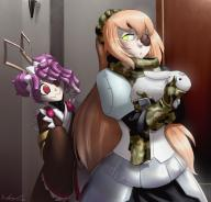 artist:marauder6272 character:cz2128_delta character:entoma_vasilissa_zeta copyright:overlord_(maruyama) general:2girls general:antennae general:bunny general:camouflage general:closed_mouth general:eyepatch general:gloves general:green_eyes general:indoors general:insect_girl general:japanese_clothes general:long_hair general:looking_back general:maid general:maid_headdress general:monster_girl general:multiple_girls general:orange_hair general:scarf general:unusual_pupils metadata:highres technical:grabber // 2335x2247 // 3.9MB