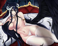 artist:tagme_(artist) character:albedo copyright:overlord general:black_hair general:breasts general:demon general:elbow_gloves general:gloves general:horns general:long_hair general:panties general:thighhighs general:topless general:underwear general:wings general:yellow_eyes style:signed technical:grabber // 1392x1093 // 779.5KB