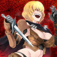 artist:butcha-u character:clementine_(overlord) copyright:overlord_(maruyama) general:1girl general::d general:armor general:bangs general:black_scarf general:blonde_hair general:breasts general:cleavage general:gauntlets general:hair_between_eyes general:knife_in_head general:large_breasts general:midriff general:open_mouth general:pauldrons general:red_background general:red_eyes general:scarf general:short_hair general:shoulder_armor general:silk general:smile general:spider_web general:teeth general:upper_body metadata:commentary_request metadata:highres technical:grabber // 1500x1500 // 3.4MB