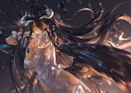 artist:avamone character:albedo copyright:overlord general:black_hair general:breasts general:cleavage general:demon general:dress general:elbow_gloves general:gloves general:horns general:long_hair general:no_bra general:wings general:yellow_eyes style:signed technical:grabber // 2263x1600 // 2.1MB