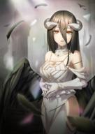 artist:shoron character:albedo character:albedo_(overlord) copyright:overlord copyright:overlord_(maruyama) general:1girl general:bare_shoulders general:black_hair general:black_wings general:blonde general:breasts general:cleavage general:demon_girl general:demon_horns general:demon_wings general:dress general:feathered_wings general:feathers general:female general:gloves general:hair_between_eyes general:hip_vent general:horns general:large_breasts general:long_hair general:looking_at_viewer general:pixiv_id_3693397 general:s8534a general:solo general:standing general:white_dress general:white_gloves general:wings general:yellow_eyes technical:grabber // 800x1132 // 1.0MB