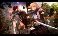 character:neia_baraja copyright:overlord_(maruyama) general:2girls general:blonde general:boots general:cloak general:custodio_remedios general:female general:multiple_girls general:potion general:red_hair general:saiko_psycho general:short_hair general:sword general:thigh_boots general:thighhighs general:weapon medium:16:10_aspect_ratio medium:high_resolution technical:grabber // 2000x1247 // 396.8KB