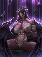 artist:rokupan character:albedo copyright:overlord_(maruyama) general:abs general:bare_shoulders general:black_hair general:breasts general:female general:horns general:large_breasts general:long_hair general:monster_girl general:muscles general:muscular general:muscular_female general:navel general:purple_skin general:solo general:thong general:tongue general:tongue_out general:veins general:wings general:yellow_eyes technical:grabber // 1920x2560 // 3.3MB