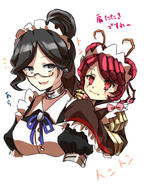 character:entoma_vasilissa_zeta character:yuri_alpha copyright:overlord_(maruyama) general:2girls general:antennae general:bangs general:bow general:bowtie general:collarbone general:dullahan general:eyebrows_visible_through_hair general:frills general:glasses general:hair_between_eyes general:hand_up general:insect_girl general:japanese_clothes general:long_hair general:long_sleeves general:maid general:maid_headdress general:monster_girl general:multiple_girls general:ofuda_on_clothes general:open_mouth general:silver_eyes general:smile general:user_dznz5583 general:wide_sleeves metadata:highres tagme technical:grabber // 1200x1600 // 1009.3KB