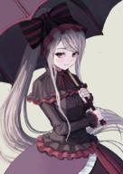 artist:atsuyah0310 character:shalltear_bloodfallen copyright:overlord_(maruyama) general:1girl general:breasts general:closed_mouth general:cowboy_shot general:dress general:fang general:fang_out general:frilled_dress general:frills general:gothic_lolita general:grey_background general:holding general:holding_umbrella general:lolita_fashion general:long_hair general:long_sleeves general:looking_at_viewer general:ponytail general:red_eyes general:silver_hair general:simple_background general:smile general:solo general:umbrella general:vampire general:very_long_hair metadata:commentary_request metadata:revision technical:grabber // 712x1007 // 592.8KB