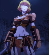 character:clementine_(overlord) copyright:overlord_(maruyama) general:1girl general:armor general:bikini_armor general:blonde general:breasts general:cleavage general:garter_belt general:gauntlets general:grin general:lingerie general:navel general:pauldron general:red_eyes general:short_hair general:smile general:solo general:sword general:underwear general:viewed_from_below general:weapon medium:high_resolution medium:screen_capture medium:stitched technical:grabber // 1920x2140 // 1.2MB