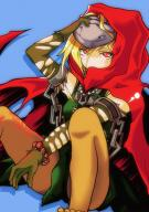 character:evileye copyright:overlord_(maruyama) general:1girl general:bare_shoulders general:blonde_hair general:blue_background general:blush general:cape general:chains general:collar general:detached_sleeves general:hair_between_eyes general:hood general:lock general:long_sleeves general:mask general:red_eyes general:shadow general:simple_background general:skirt general:solo metadata:artist_request tagme technical:grabber // 618x873 // 326.3KB