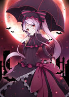 character:shalltear_bloodfallen copyright:overlord_(maruyama) general:1girl general:bangs general:bat general:black_capelet general:black_dress general:black_umbrella general:bonnet general:bow general:capelet general:choker general:cross general:dress general:fang general:fang_out general:flag general:floating_hair general:frilled_dress general:frills general:full_moon general:gothic_lolita general:hair_between_eyes general:head_tilt general:holding general:holding_umbrella general:lolita_fashion general:long_hair general:long_sleeves general:looking_at_viewer general:moon general:over_shoulder general:pale_skin general:pink_choker general:pink_ribbon general:poinia general:purple_hair general:red_eyes general:ribbon general:ribbon_choker general:smile general:solo general:striped general:striped_bow general:turtleneck general:twintails general:umbrella general:vampire general:very_long_hair metadata:absurdres metadata:highres technical:grabber // 2480x3507 // 3.6MB