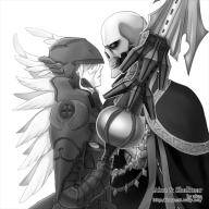 artist:aken character:ainz_ooal_gown character:shalltear_bloodfallen copyright:overlord_(maruyama) general:1boy general:1girl general:armor general:looking_at_another general:robe general:skeleton general:undead general:vampire general:weapon general:wings metadata:monochrome tagme technical:grabber // 600x600 // 173.8KB