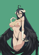 artist:ryusho character:albedo copyright:overlord_(maruyama) general:1girl general::q general:ahoge general:black_hair general:black_panties general:black_wings general:breasts general:demon_girl general:demon_horns general:detached_collar general:feathered_wings general:gloves general:green_background general:highleg general:highleg_panties general:horns general:inverted_nipples general:large_breasts general:long_hair general:looking_at_viewer general:low_wings general:nipples general:panties general:smile general:solo general:tongue general:tongue_out general:underwear general:underwear_only general:very_long_hair general:white_gloves general:wings general:yellow_eyes meta:highres technical:grabber // 1200x1697 // 590.3KB