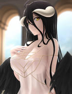 artist:siraha character:albedo copyright:overlord_(maruyama) general:1girl general:ahoge general:bangs general:bare_shoulders general:black_feathers general:black_hair general:black_wings general:breasts general:cleavage general:closed_mouth general:collarbone general:demon_girl general:demon_horns general:demon_wings general:dress general:feathered_wings general:hair_between_eyes general:hand_on_own_chest general:horns general:large_breasts general:long_hair general:looking_at_viewer general:low_wings general:slit_pupils general:smile general:solo general:white_dress general:wings general:yellow_eyes metadata:highres technical:grabber // 1000x1300 // 406.2KB