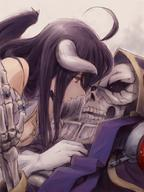 artist:user_xgpy8228 character:ainz_ooal_gown character:albedo copyright:overlord_(maruyama) general:1girl general:ahoge general:bare_shoulders general:black_hair general:breasts general:demon_girl general:demon_horns general:dress general:female general:gloves general:horns general:large_breasts general:long_hair general:robe general:skeleton general:skull general:white_dress general:white_gloves general:wings general:yellow_eyes technical:grabber // 600x800 // 674.3KB