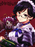 character:entoma_vasilissa_zeta character:yuri_alpha copyright:overlord_(maruyama) general:2girls general:antennae general:black_eyes general:black_hair general:braid general:collar general:dullahan general:gauntlets general:glasses general:hair_bun general:insect_girl general:japanese_clothes general:looking_at_viewer general:maid general:maid_headdress general:multiple_girls general:poppu general:red_background general:red_eyes general:red_hair general:semi-rimless_eyewear general:simple_background general:smile metadata:highres technical:grabber // 1200x1600 // 1.6MB