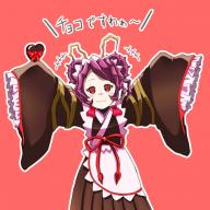 artist:kagayaku_namahamu character:entoma_vasilissa_zeta copyright:overlord_(maruyama) general:0ji12ji general:1girl general:antennae general:chocolate general:chocolate_heart general:dress general:female general:heart general:insect_girl general:kimono general:looking_at_viewer general:maid general:maid_headdress general:short_hair general:smile general:solo general:wa_maid general:wafuku general:wide_sleeves genre:monster_girl medium:1:1_aspect_ratio technical:grabber // 787x787 // 400.1KB