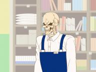 artist:imaani character:ainz_ooal_gown character:honda-san copyright:gaikotsu_shotenin_honda-san copyright:overlord copyright:overlord_(maruyama) general:1other general:apron general:blue_apron general:book general:bookshelf general:indoors general:long_sleeves general:shirt general:skeleton general:uniform general:upper_body general:white_shirt medium:4:3_aspect_ratio medium:high_resolution medium:trait_connection technical:grabber // 1600x1200 // 442.0KB