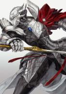 copyright:overlord_(maruyama) general:1boy general:armor general:attack general:cape general:fantasy general:from_side general:full_armor general:gauntlets general:gem general:gradient general:gradient_background general:grey_background general:helmet general:holding general:holding_sword general:holding_weapon general:horned_helmet general:horocca general:pauldrons general:plate_armor general:profile general:red_cape general:solo general:sword general:touch_me general:warrior general:weapon technical:grabber // 756x1065 // 592.7KB