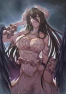 artist:budda character:albedo copyright:overlord_(maruyama) general:1girl general:bare_shoulders general:black_hair general:black_wings general:breasts general:brown_eyes general:cleavage general:detached_collar general:dress general:feathered_wings general:gloves general:hip_vent general:horns general:large_breasts general:long_hair general:looking_at_viewer general:slit_pupils general:smile general:solo general:white_dress general:white_gloves general:wings general:yellow_eyes technical:grabber // 827x1169 // 1.3MB